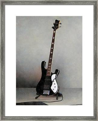 Black And White Guitar Framed Print