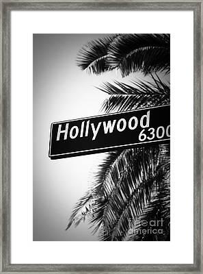 Black And White Hollywood Street Sign Framed Print