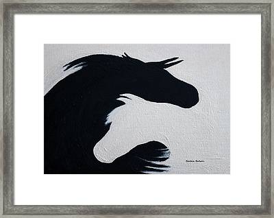 Black And White Horses Together Forever Framed Print