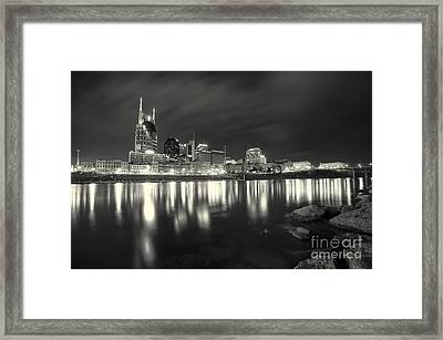 Black And White Image Of Nashville Tn Skyline  Framed Print by Jeremy Holmes