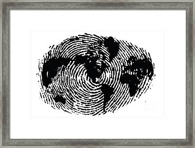 black and white ink print poster One of a Kind Global Fingerprint Framed Print