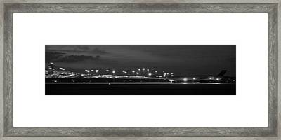 Black And White Jet Landing At Gerald R Ford Airport Framed Print by Rosemarie E Seppala