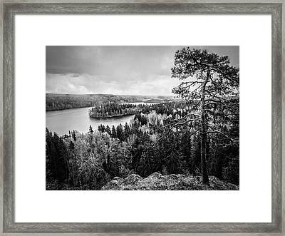Black And White Lake View Framed Print by Teemu Tretjakov
