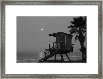 Black And White Moon Over  Lifeguard Tower Framed Print by Richard Cheski