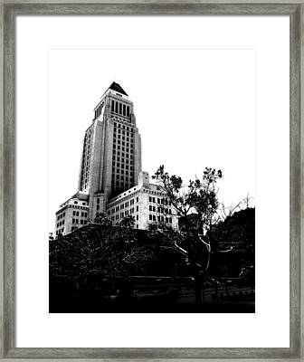 Framed Print featuring the photograph Black And White Los Angeles Abstract City Photography...la City Hall by Amy Giacomelli