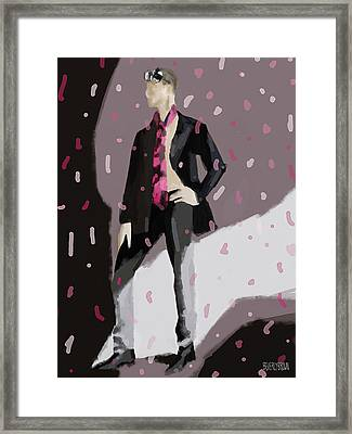 Black And White Mask Fashion Illustration Art Print Framed Print by Beverly Brown