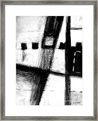 Black And White Minimal Abstract Framed Print by Laura  Gomez