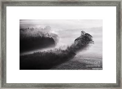 Black And White Mist Landscape Framed Print