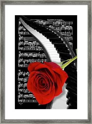 Black And White Music Collage Framed Print by Phyllis Denton
