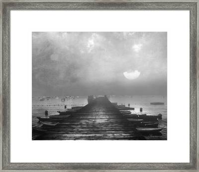 Black And White Mystery- From The Moon To The Mist Framed Print
