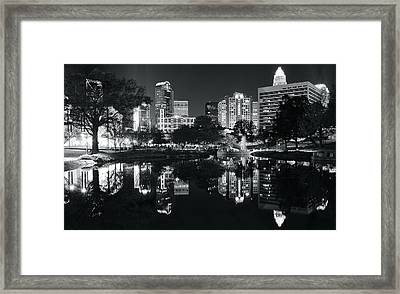 Black And White Night In Charlotte Framed Print