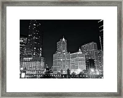 Black And White Night In Chicago Framed Print by Frozen in Time Fine Art Photography