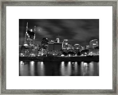 Black And White Night In Nashville Framed Print