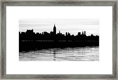 Framed Print featuring the photograph Black And White Nyc Morning Reflections by Lilliana Mendez
