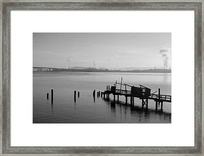 Black And White Oakland Bay Framed Print