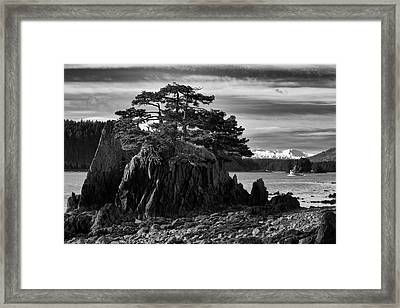 Black And White Of A Salmon Seiner Framed Print