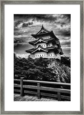 Black And White Of Hirosaki Castle In Japan Framed Print by David Smith