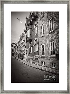 Black And White Old Style Photo Of Old Quebec City Framed Print by Edward Fielding