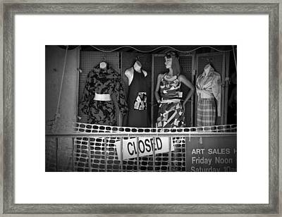 Black And White Outdoor Clothing Display Framed Print