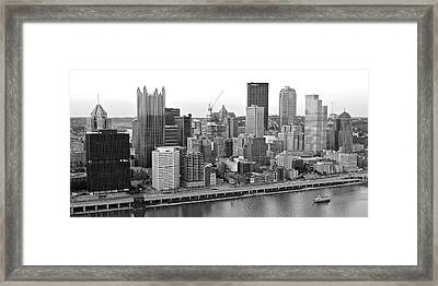 Black And White Panoramic Of Pittsburgh Pa Framed Print by Frozen in Time Fine Art Photography
