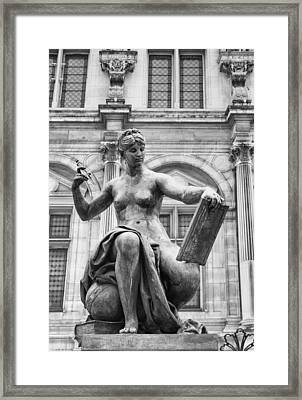 Black And White Paris Statue Framed Print by Georgia Fowler