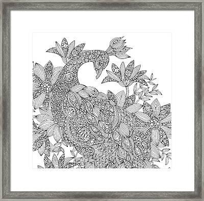 Black And White Peacock Framed Print by Valentina Harper