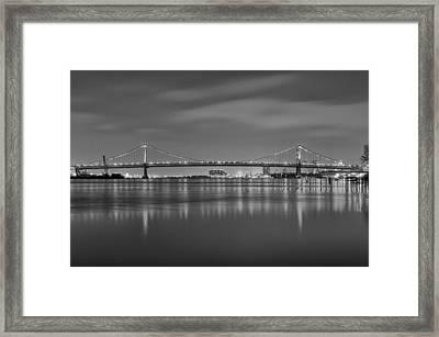 Black And White Philadelphia - Benjamin Franklin Bridge Framed Print by Bill Cannon