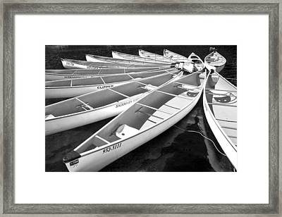 Black And White Photograph Of A Group Of Canoes Tethered Together In A Circle Framed Print by Randall Nyhof
