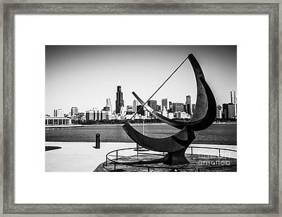 Black And White Picture Of Adler Planetarium Sundial Framed Print by Paul Velgos