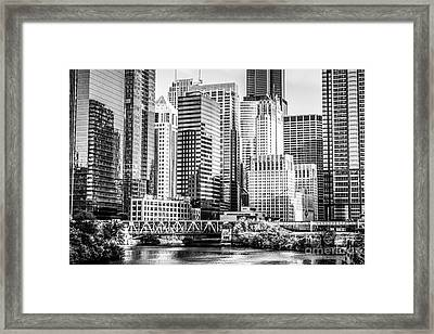 Black And White Picture Of Chicago At Lake Street Bridge Framed Print by Paul Velgos
