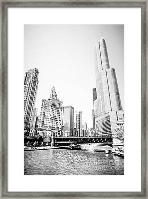 Black And White Picture Of Chicago River Architecture Framed Print by Paul Velgos