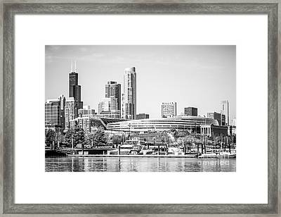 Black And White Picture Of Chicago Skyline Framed Print