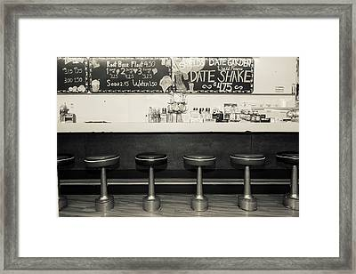 Black And White Picture Of Diner Framed Print by Julien Mcroberts
