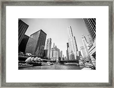 Black And White Picture Of Downtown Chicago Framed Print by Paul Velgos