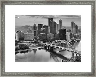 Black And White Pittsburgh Sunrise Framed Print