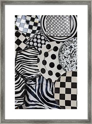 Black And White Plates Framed Print