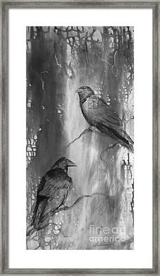 Black And White Ravens Framed Print