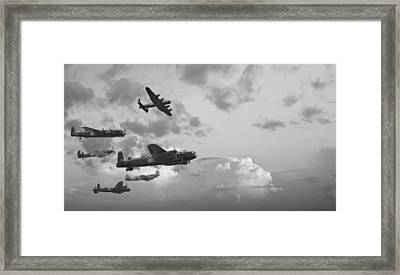 Black And White Retro Image Of Batttle Of Britain Ww2 Airplanes Framed Print by Matthew Gibson