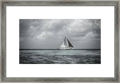 Black And White Sail Boat Framed Print by Kristina Deane