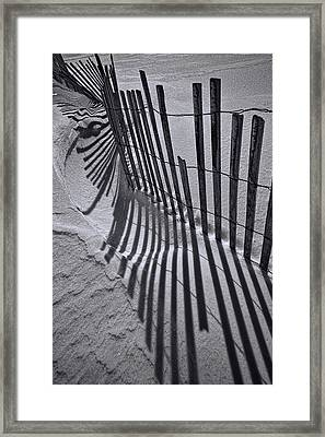 Black And White Sand Fence During Winter On The Beach Framed Print by Randall Nyhof