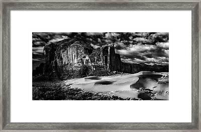 Black And White Sands At Monument Valley Framed Print