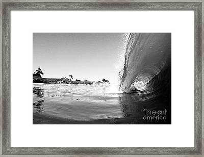 Black And White Santa Cruz Wave Framed Print by Paul Topp