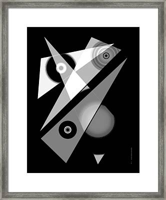 Black And White Shapes Art Framed Print by Mario Perez