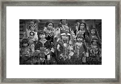 Black And White Shop Display Of American Indian Dolls Framed Print