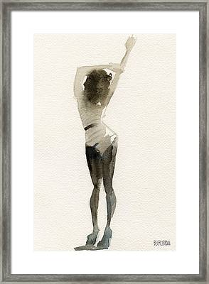 Black And White Stripes Watercolor Fashion Woman Art Print  Framed Print