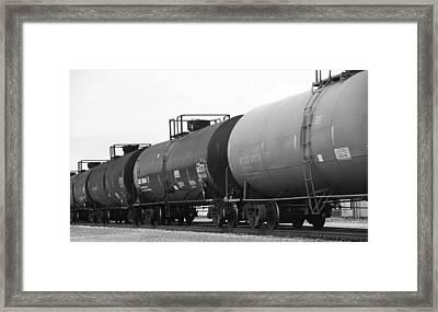 Black And White Train On Tracks Framed Print