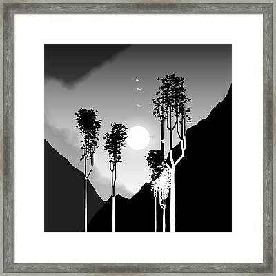 Black And White Trees Framed Print by GuoJun Pan