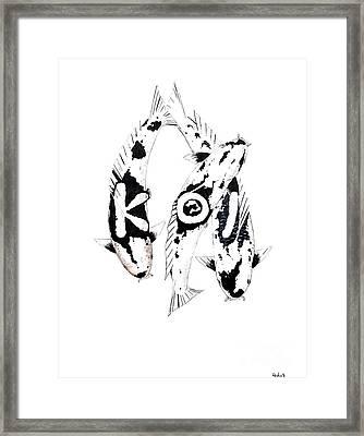 Black And White Trio Of Koi Framed Print by Gordon Lavender
