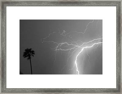 Black And White Tropical Thunderstorm Night  Framed Print