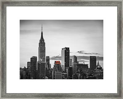 Black And White Version Of The New York City Skyline With Empire Framed Print by Eduard Moldoveanu